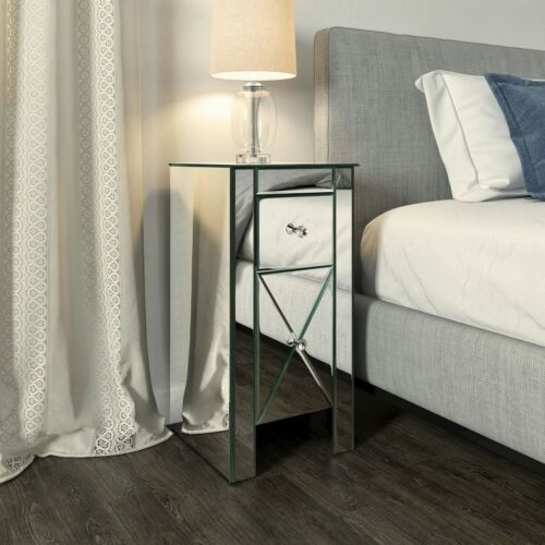 Modern End Bedside Table 2-Drawer Mirrored Nightstand Bedroom Living Room Silver