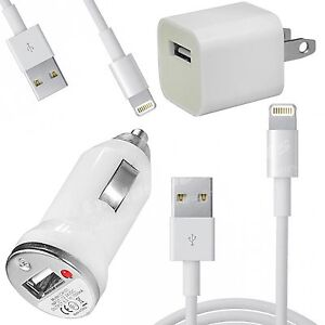 USB Home AC Wall + Car Charger + 2 x 8 Pin Data Sync Cable For iPhone 5 5S 5C 5G