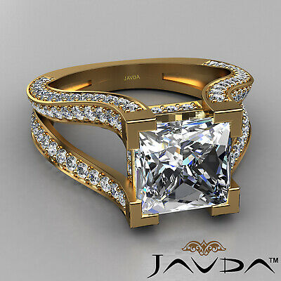 Circa Halo Split Shank Princess Diamond Engagement Pave Set Ring GIA H VS2 2.4Ct 5