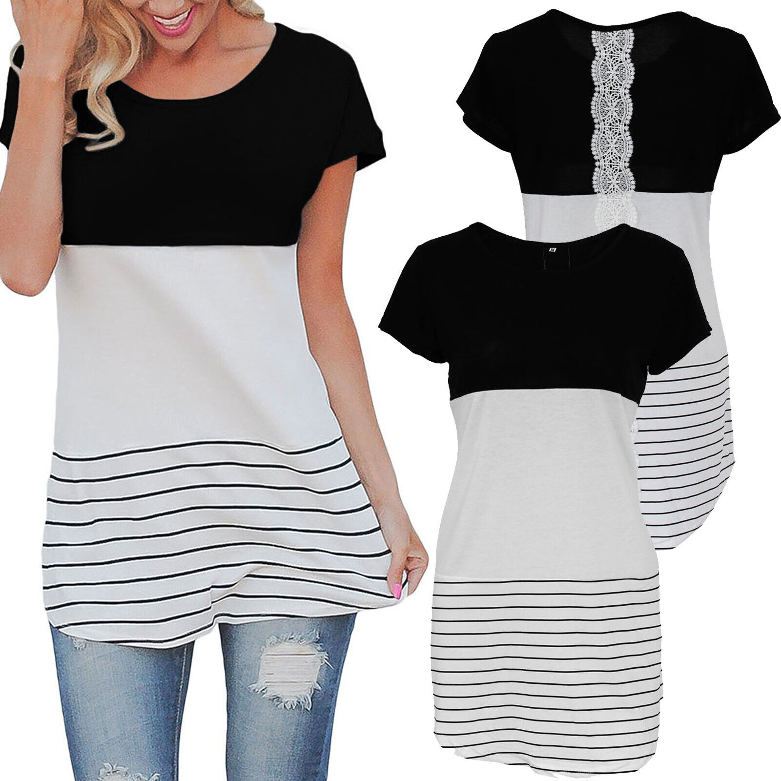 Womens Patchwork Short Sleeve Striped Lace Trim Casual Blouse Tops T-Shirt US Clothing, Shoes & Accessories