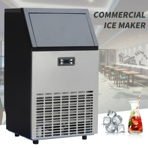 Commercial Ice Maker Stainless Steel Built-in Ice Cube Machine Undercounter 100