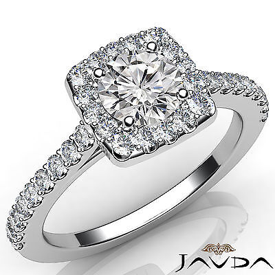 Halo Round Cut Natural Diamond Engagement French Pave Setting Ring GIA E VS2 1Ct