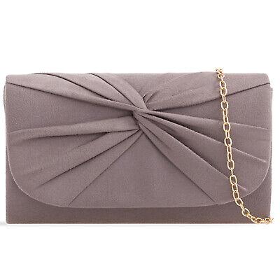 Plissee Damen Tasche (Grau Plissee Wildleder Hochzeit Damen Party Clutch Handtasche)