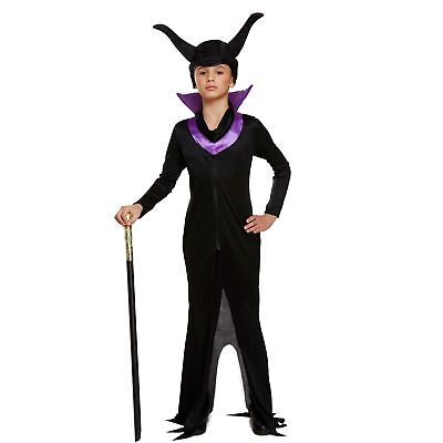 EVIL QUEEN MALEFICENT DRESS UP OUTFIT AGE 4-12 girls kids fancy dress costume