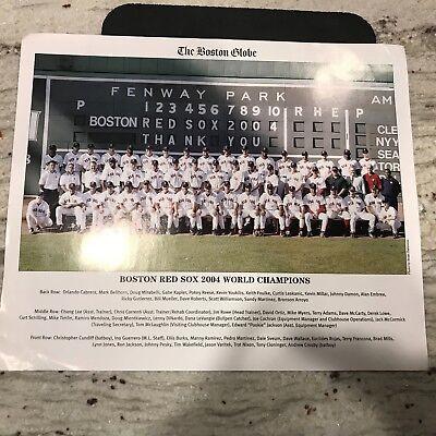 Boston Red Sox 2004 Boston Globe World Champions Team Picture 11X12 1 2