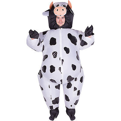 Adult Funny Inflatable Animal Cow Fancy Dress Costume Outfit Suit Halloween Stag - Inflatable Cow Suit