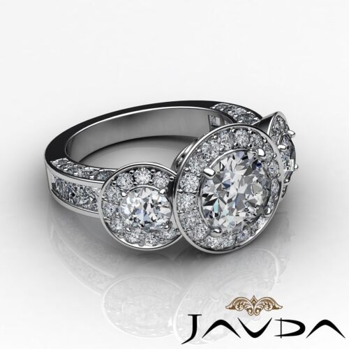 2.8ct Halo Pave Round Diamond Engagement 3 Stone Ring GIA F VS2 14k White Gold 2