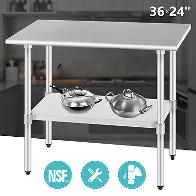 24x 36 Work Prep Table Commercial Stainless Steel Food Kitchen Restaurant Nsf
