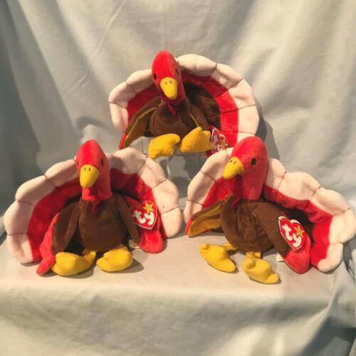 Gobbles Turkey Lot of 3 Ty Beanie Babies #4034 1996 PE Retired $16.49
