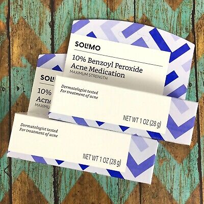 2 Solimo 10% Benzoyl Peroxide Acne Cream Medication Max Strength 05/2021 C29-7