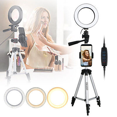 Ring Light Mini LED Camera Lamp with Tripod Stand Phone Holder for YouTube Video - Led Ring