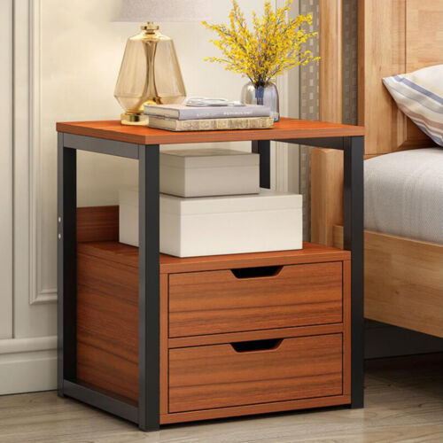 Modern Style Bedside Table Nightstand Unit Cabinet with 2 Dr