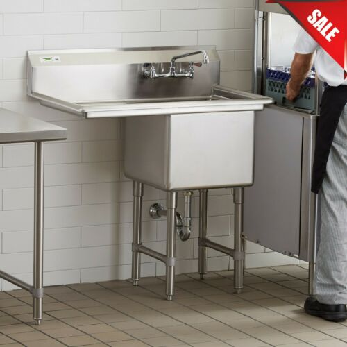 "38"" 1 Compartment Stainless Steel Commercial Utility One Sink Left Drainboard"