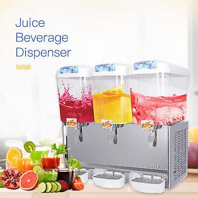 3 Tank Commercial Juice Beverage Cold Drink Dispenser Motor Refrigerate 680w