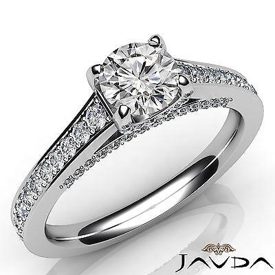 Round Diamond Engagement Split Shank Micro Pave Ring GIA Certified F VVS1 1.25Ct