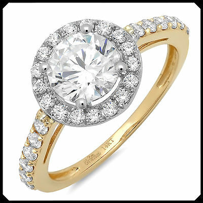 Kim 2.35CT Synthetic Diamond Solid 14K Yellow White GOLD Engagement Wedding Ring