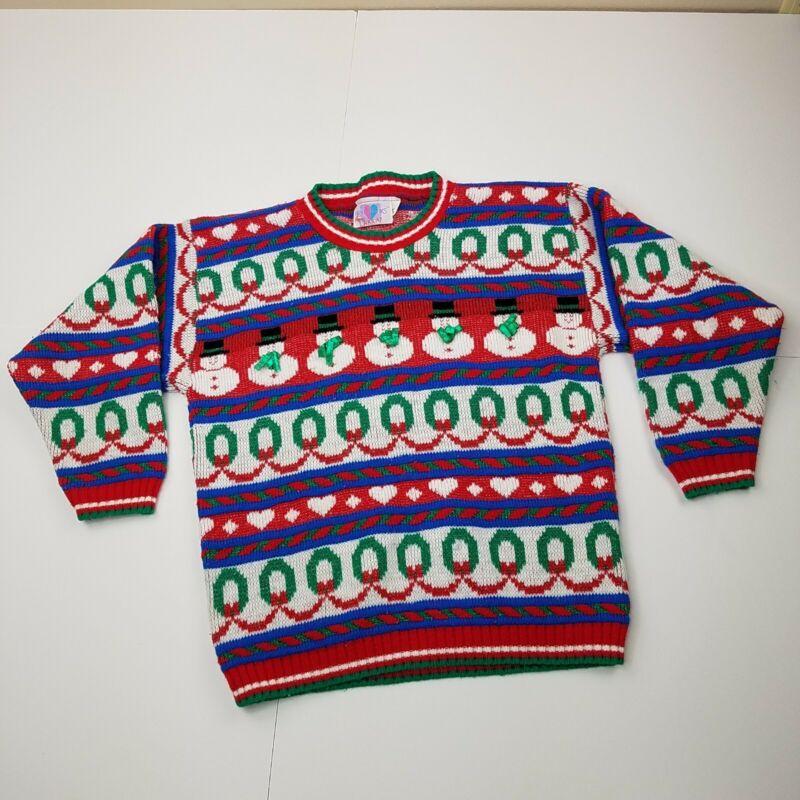 Girls Heartworks Vintage Christmas Sweater Medium 10-12 Kids Sparkle Snowman