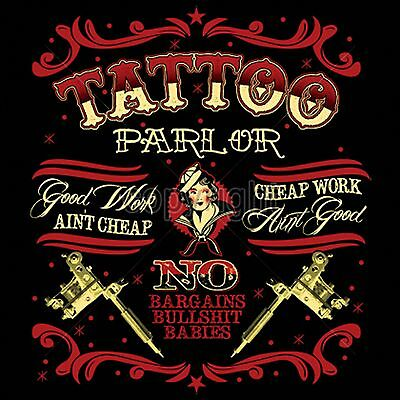 6 Graphic Designs - Tattoo Parlor Art T Shirt Retro Graphic Design Mens Black Small to 6XL Big Tall