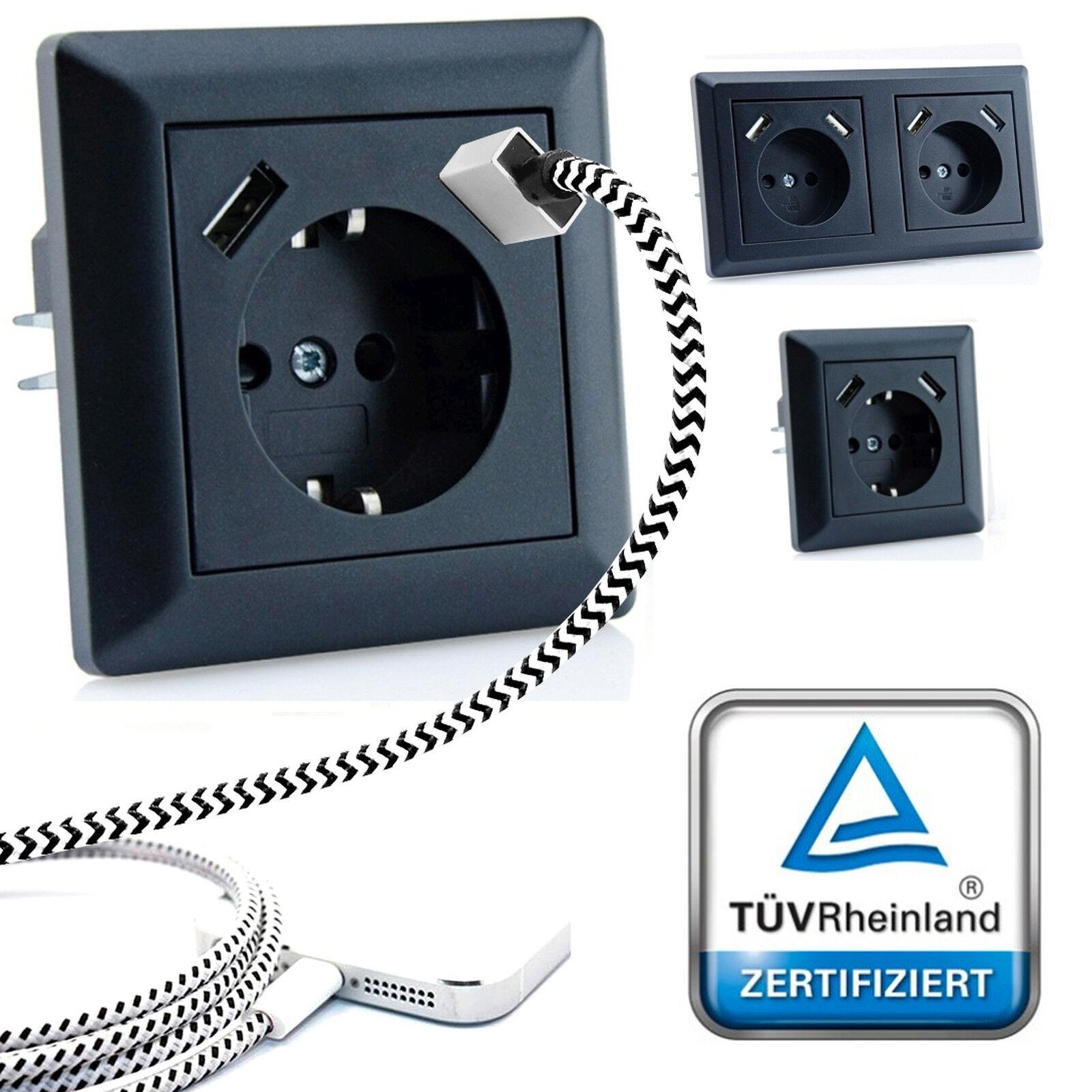 230 V Schuko Steckdose Unterputz 2 x USB Ladegeräte für Gira 55 Schwarz