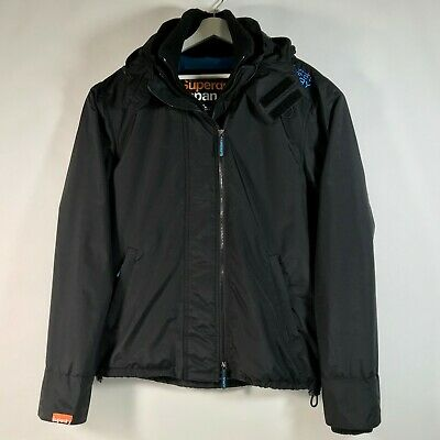 SUPERDRY Japan WindCheater Technical Black Fleece Lined Hooded Jacket 3Zip XL