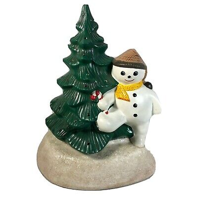 Ceramic Mold 12in Snowman Christmas Tree Light Up Holiday Winter Decoration