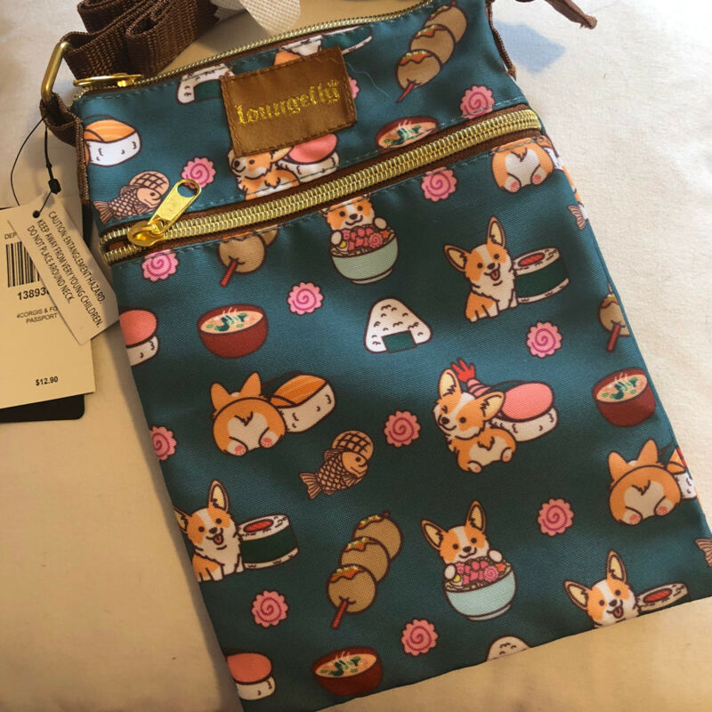 Sushi Corgi Passport Size Crossbody Bag Dog Print Purse Loungefly