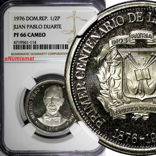 DOMINICAN REPUBLIC PROOF 1976 1/2 Peso NGC PF66 CAMEO Mintage-5,000 KM# 44