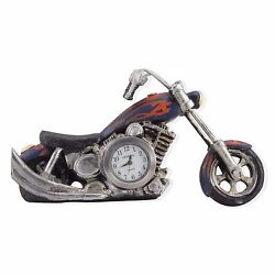 10022050 Geneva Clock Company Mini Table Top Analog Quartz Clock - Motorcycle