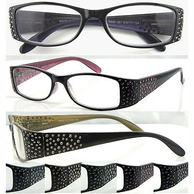 L351 Womens' Plastic Reading Glasses Spring Hinges Graceful Colored Diamond Arms