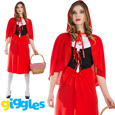 Womens Little Red Riding Hood Costume World Book Day Week Story Fancy Dress - Womens Little Red Riding Hood Costume