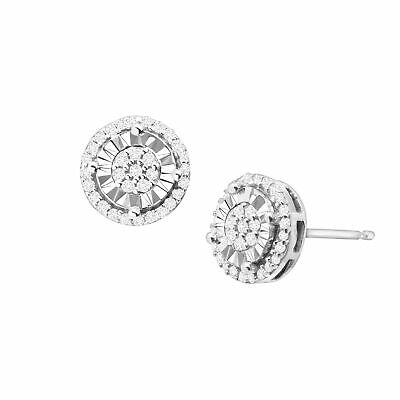 1/4 ct Diamond Halo Stud Earrings in Sterling Silver