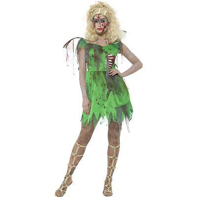 Green Zombie Fairy Tinkerbell Blood Halloween Womens Ladies Fancy Dress