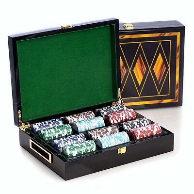 Poker Set - 300 Clay Composite Chips, Two Decks Cards in Inlaid Lacquer Wood Box 300 Clay Composite Chips
