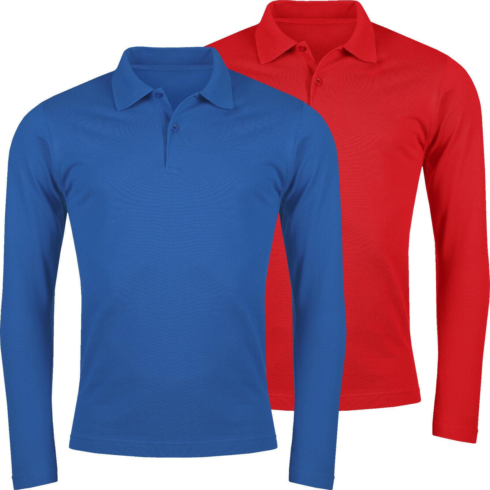 Mens Polo T Shirt  Long Sleeve 100/% Cotton Pique Button Up Casual Top UK Seller