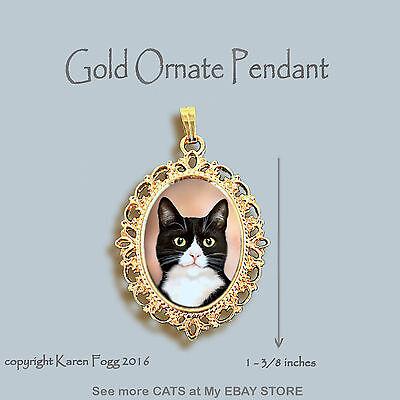 Black And Gold Tuxedo (TUXEDO SHORTHAIR CAT Black and White - ORNATE GOLD PENDANT)