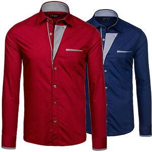 BOLF-4713-Camisa-De-Los-Hombres-De-Manga-Larga-Top-Camisa-Largo-Polo-Ajustado