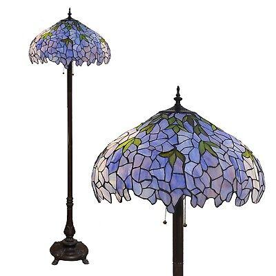 - Indigo Tiffany Style Glass Floor Lamp Living Room Light Shade Vintage Antique