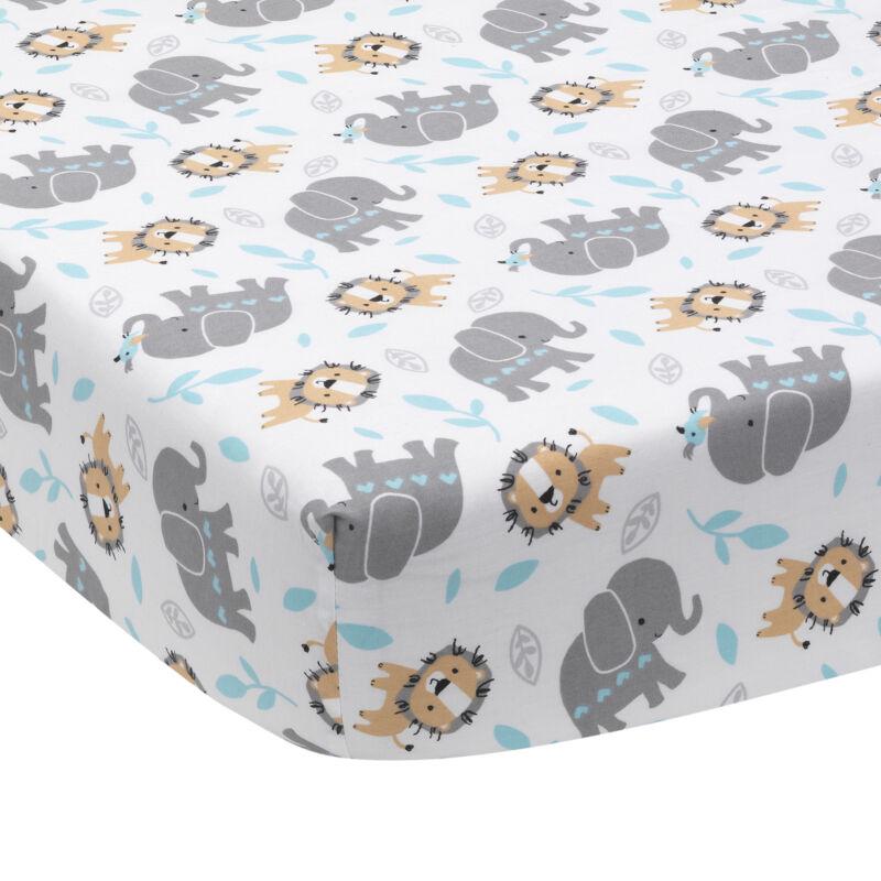 Bedtime Originals Jungle Fun Fitted Crib Sheet - Blue, Gray, White, Animals