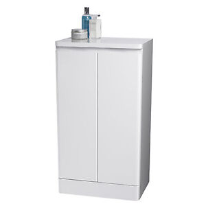 White Double Freestanding Bathroom Floor Cabinet Cupboard Storageunit Furniture Ebay