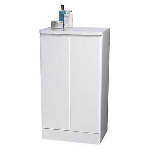 white double freestanding bathroom floor cabinet cupboard