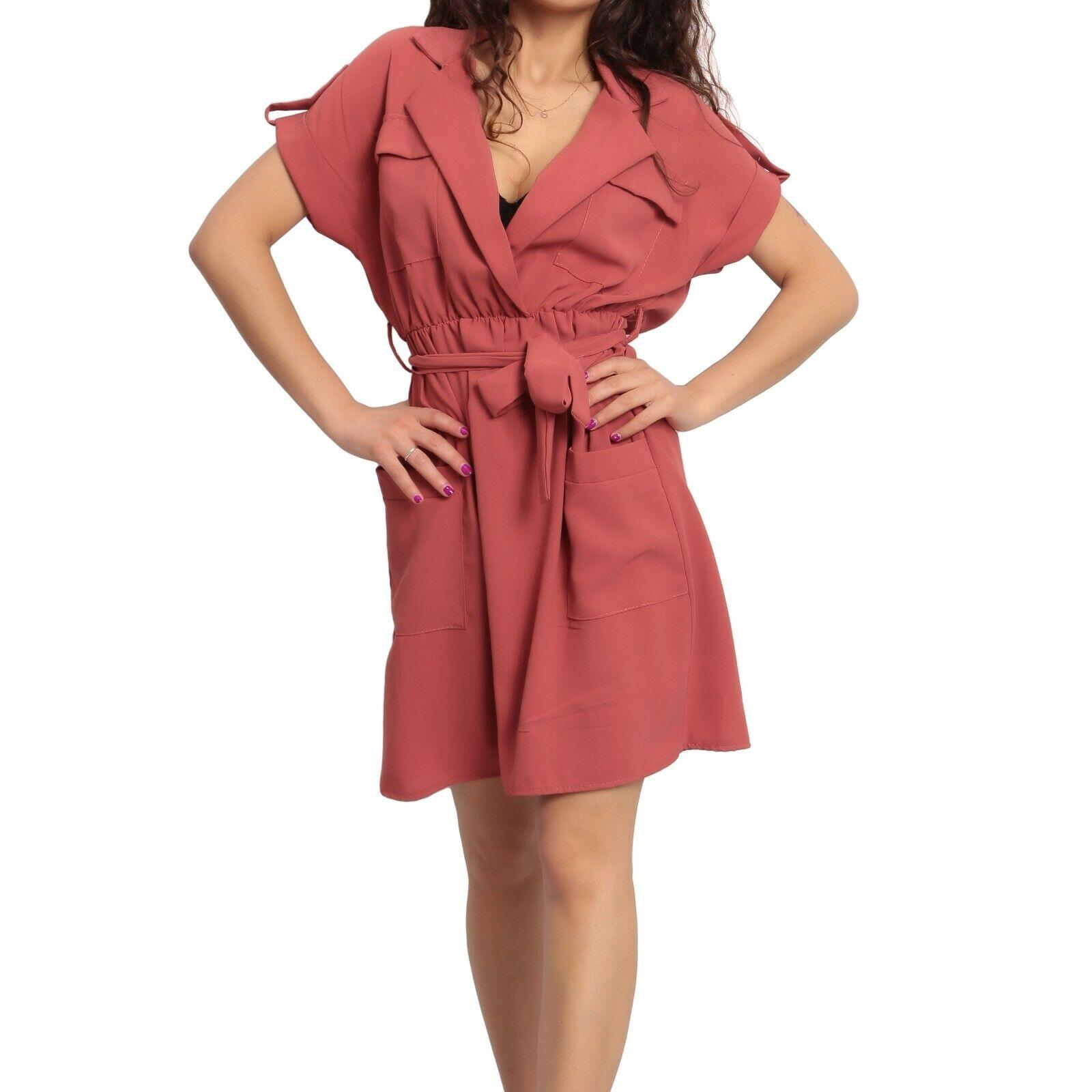 Vestito donna abito corto mini manica corta colletto scollo V cintura moda 12819