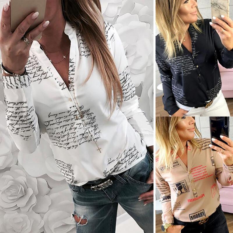 Damen Langarm Shirt Hemd Top Freizeit Tunika T-shirt Bluse V-Ausschnitt Oberteil