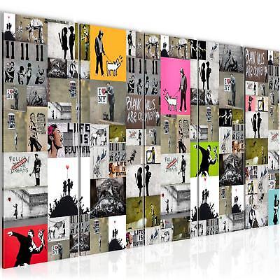Bild Bilder Wandbild XXL 200x80cm Banksy Collage - Kunstdruck Leinwand aus Vlies