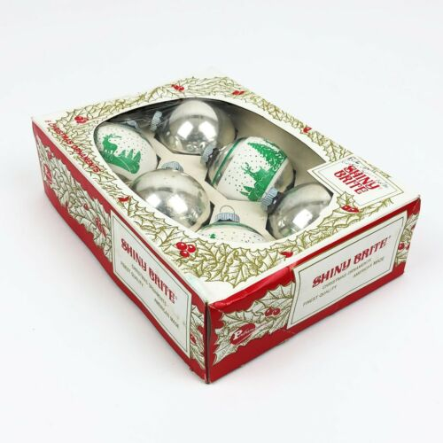 Box of 6 Vintage Shiny Brite Christmas Ornaments in Original Box Used Good Cond.