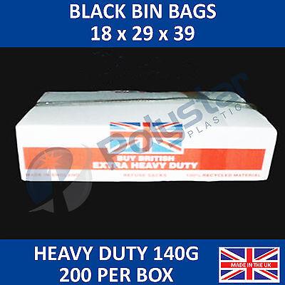 Heavy duty refuse sacks 18 x 29 x 39 140 gauge bin bags made in the UK