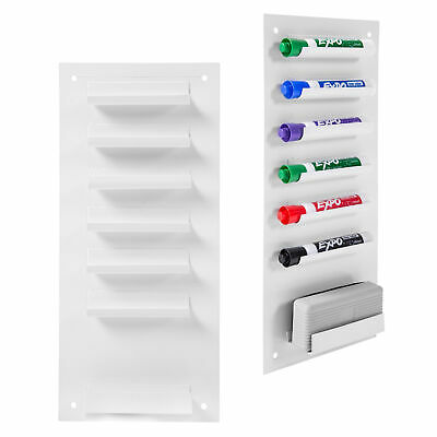 6-slot Wall Mounted Metal Dry Erase Marker And Eraser Holder White Set Of 2