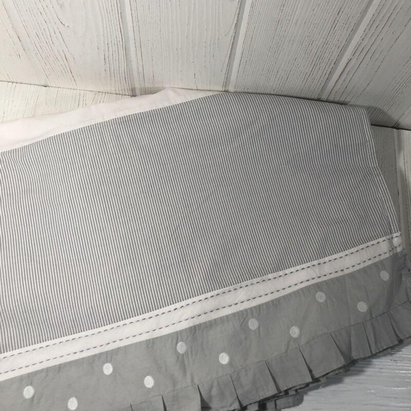 Pottery Barn Kids Taylor Crib Skirt Gray White Ticking Polla Dots Elephant