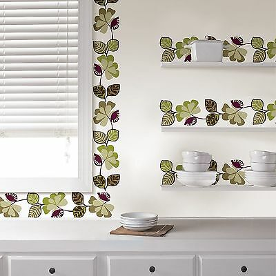 Decorative Wall Sticker Border - CAMEROON Wall Border Decals Purple Green Leaves Ivy Room Decor Sticker Wallpaper