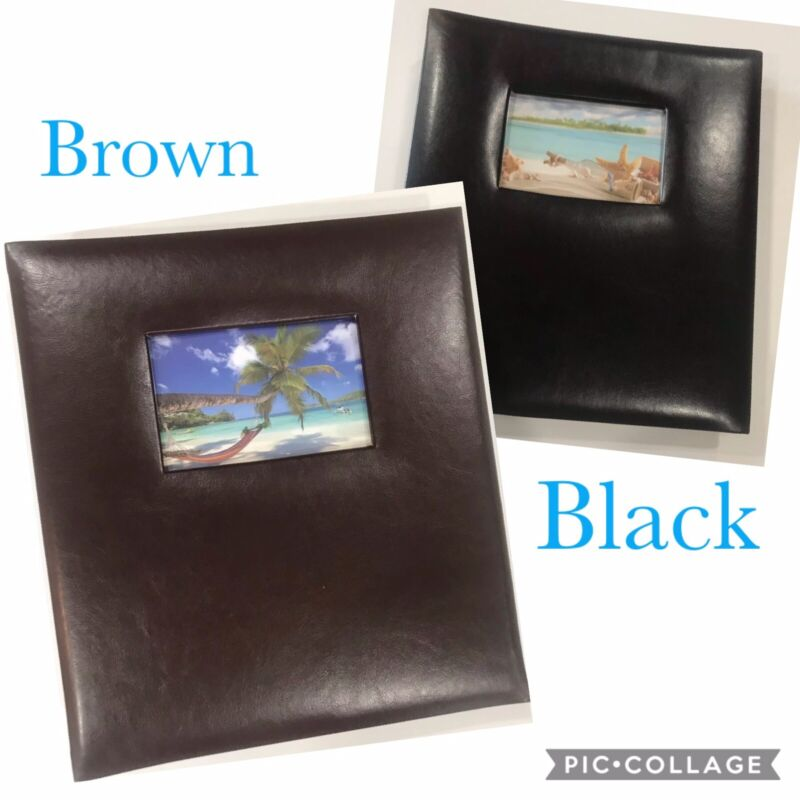 2 Photo Albums Brown & Black PU Leather Holds 500 Photos Of 4x6, NEW