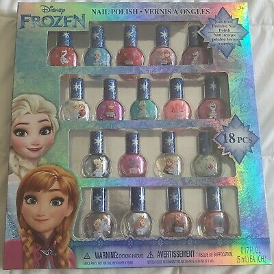 Disney Frozen Best Peel-Off Nail Polish Deluxe Gift Set for Kids 18 Colors New.